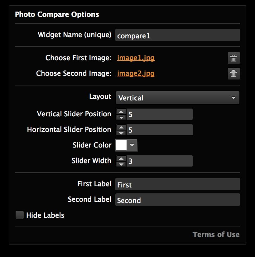 Photo Compare widget for Adobe Muse